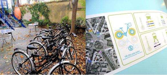 Vélo à disposition et notice explicative pour les transports en commun