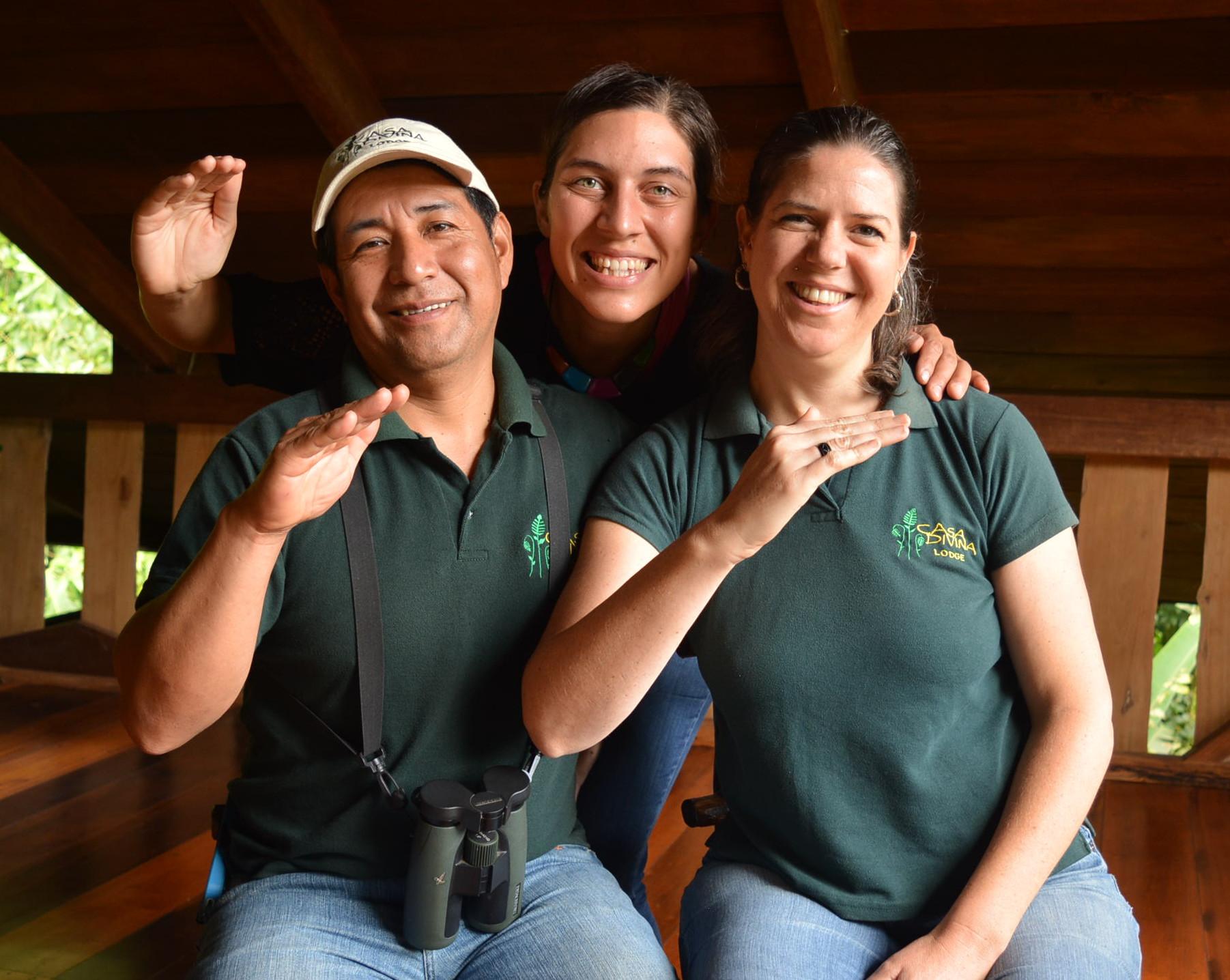 Florie avec Efrain et Molly, Casa Divina Lodge Mindo Equateur