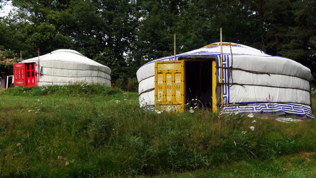 Yurts outside, Moulin de la Jarousse